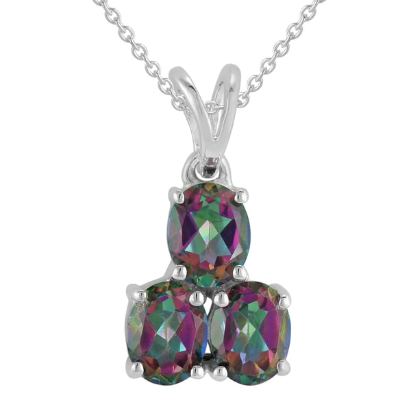 Sterling Silver Oval Mystic Topaz Pendant Necklace