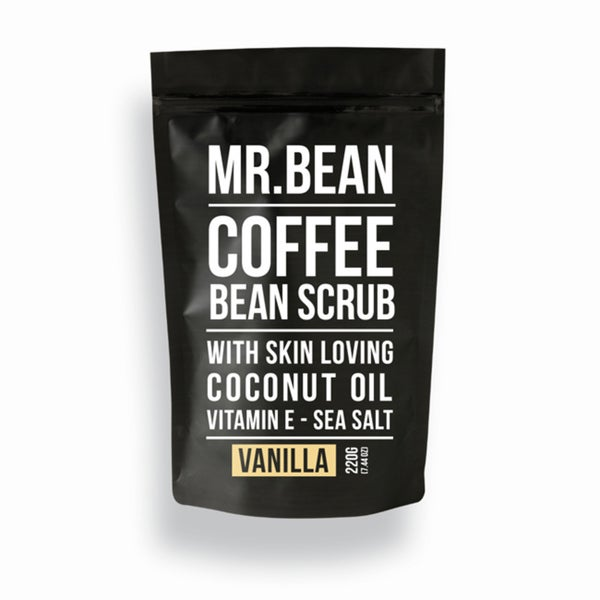 Mr. Bean Organic Vanilla Coffee Scrub with Coconut Oil, Vitamin E, and Sea Salt
