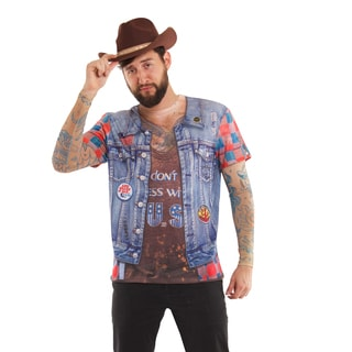 Men's Multicolored Polyester Faux Real Mens Jean Jacket with Fake Tattoo
