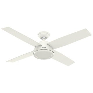 Hunter Fan Dempsey Collection 52-inch Fresh White with 4 Blonde Oak/Fresh White Reversible Blades