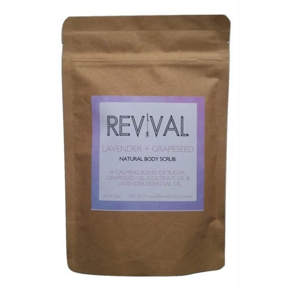 Revival Body Care Organic White Cane Sugar Calming Whipped Lavender Grapeseed Body Scrub