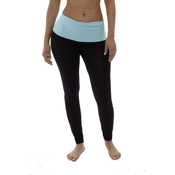 Long Yoga Leggings With Colorful Waistband