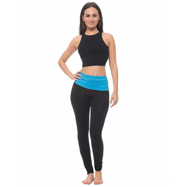 Women's Yoga Leggings With Heathered Contrast Waistband