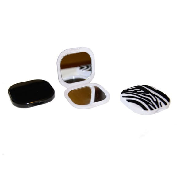 Viva Women's Square Black and White Design Compact Pocket Mirror (Pack of 3)