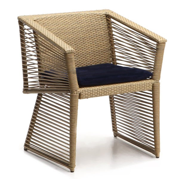 Borneo Wicker Black Cushioned Dining Chair