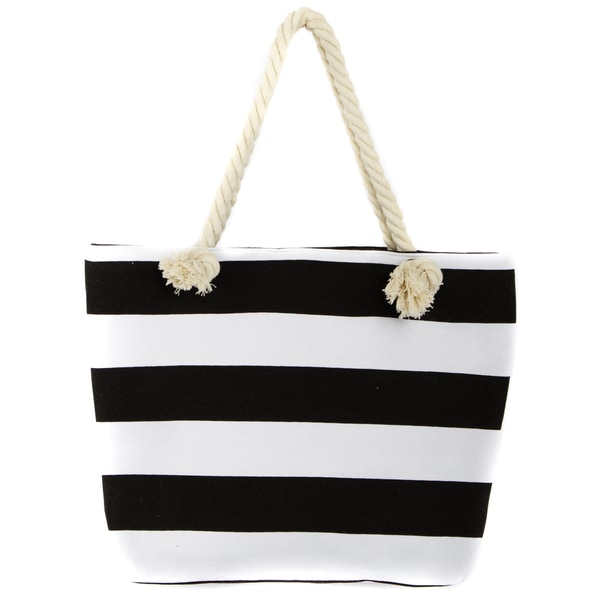 Leisureland Rope Handle Stripe Canvas Beach Tote Bag