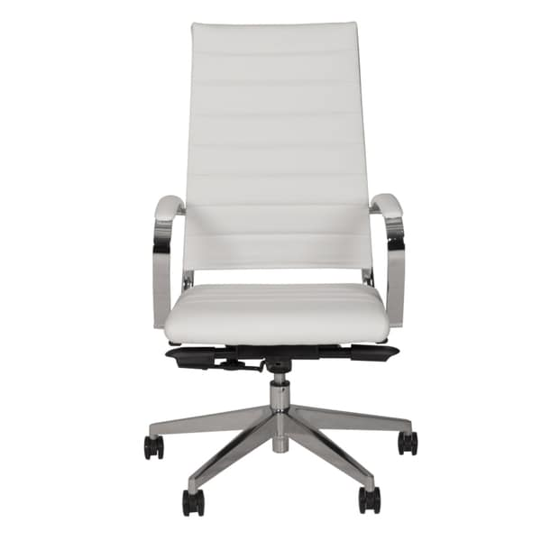Henley White Faux Leather High Back Stainless Steel Office Chair