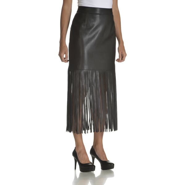 Chelsea & Theodore Women's Black Faux Leather Fringe Hem Skirt