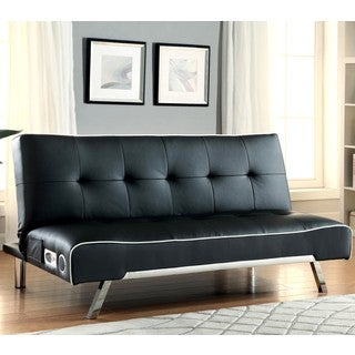 Contemporary Design Black with White Piping Tufted Sofa Bed with Chrome Legs and Bluetooth Speaker
