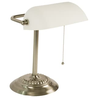 Light Accents Banker's Lamp with White Glass Shade (Brushed Nickel Finish)