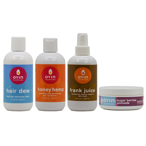 OYIN Hair Dew Lotion, Honey Hemp Conditioner, Juice Leave-In Hair Tonic, and Sugar Berries Pomade Set 19591056