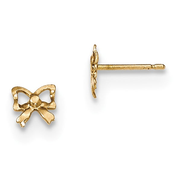 14k Polished Bow Post Earrings by Versil