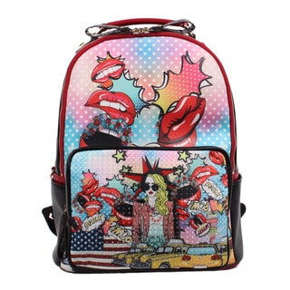 Nicole Lee Pop Girl Print Synthetic Leather and Nylon Fashion Backpack