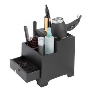 Black 2 Compartment Hair Dryer Organizer