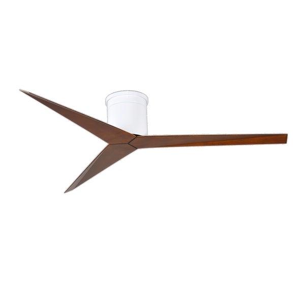 Matthews Fan Company Eliza H-3 Gloss White Hugger Paddle Ceiling Fan with Walnut-tone Blades