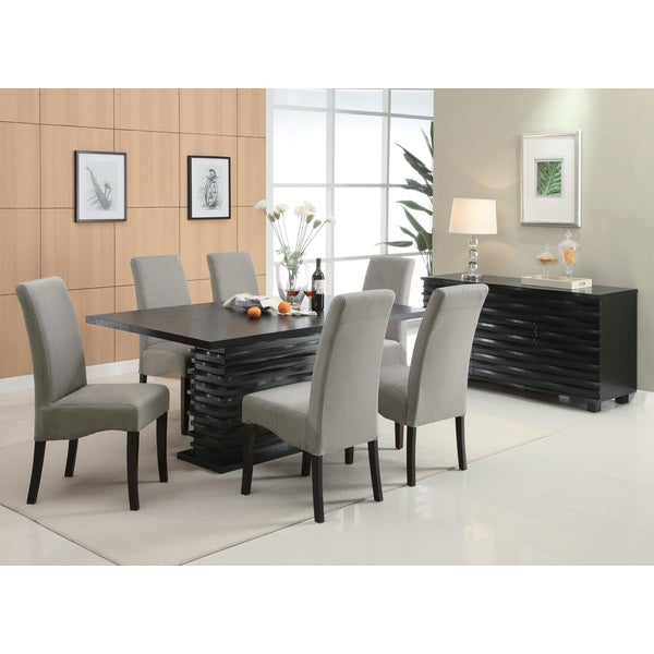 Contemporary 6-seater Black Wooden Dining Table