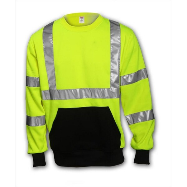 Job Sight S78022 ANSI 107 Class 3 Fluorescent Yellow/Green Polyester Crew-neck Sweatshirt With Pouch Pocket
