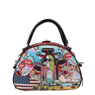 Nicole Lee Pop Girl Print Bowler Shoulder Handbag