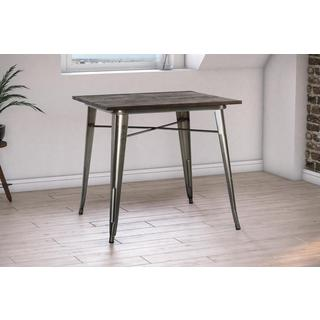 DHP Antique Gun Metal/ Wood Fusion Square Dining Table