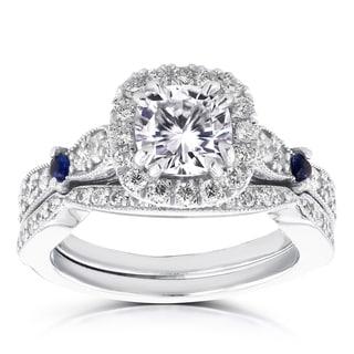 Annello 14k White Gold 1 1/6ct Brilliant Moissanite/ Sapphire/ 3/5ct TDW Diamond Halo Antique Bridal Set (G-H, I1-I2)
