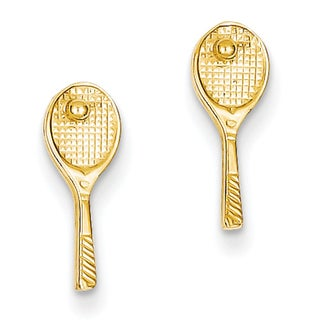14k Mini Tennis Racquet with Ball Post Earrings by Versil