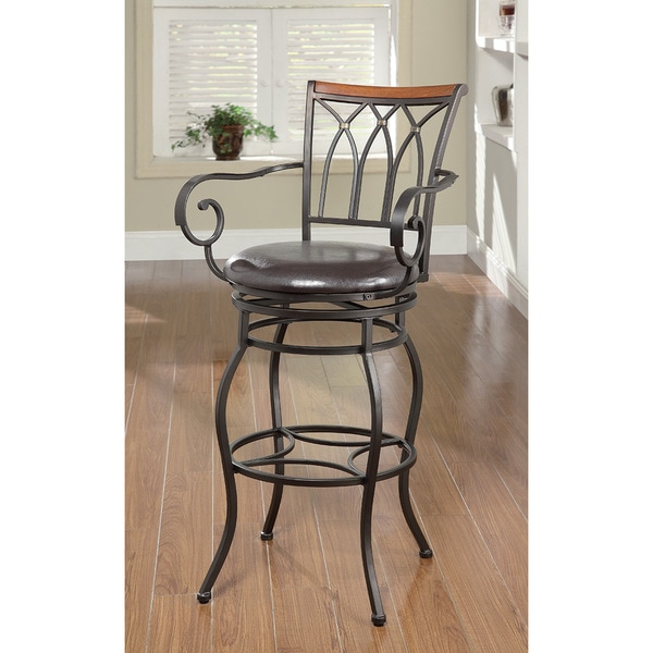 Black Metal Wood Trim Bar Chair