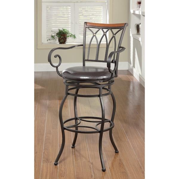 Black Metal Wood Trim Bar Chair