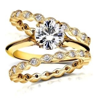 Annello 14k Yellow Gold 1ct Round Moissanite and 3/4ct TDW Diamond Floral Antique Double Band Bridal Set (G-H, I1-I2)