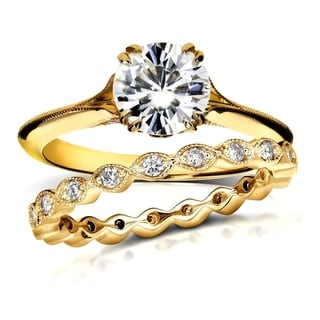 Annello 14k Yellow Gold 1ct Round Moissanite and 2/5ct TDW Diamond Floral Antique Bridal Set (G-H, I1-I2)