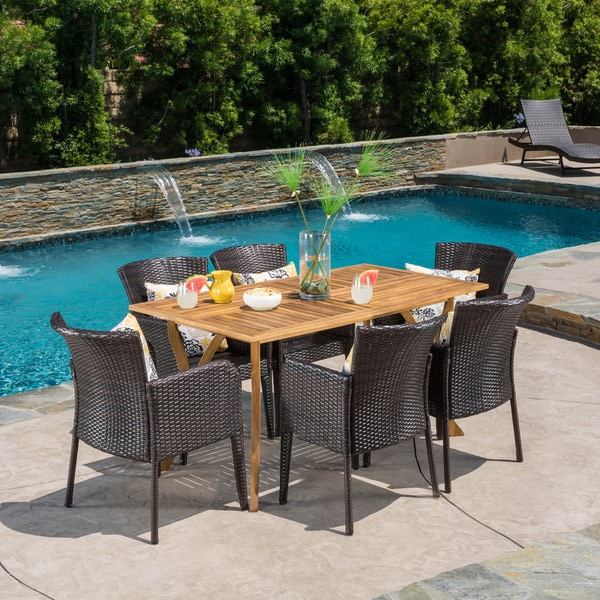 Henaya Outdoor 7-piece Wood Dining Set by Christopher Knight Home -  298436