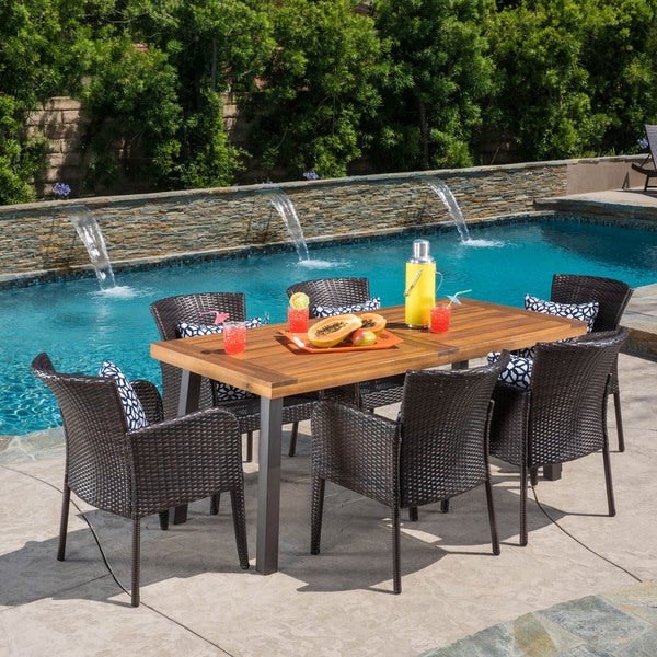 Denaya Outdoor 7-piece Wood Dining Set by Christopher Knight Home -  298438