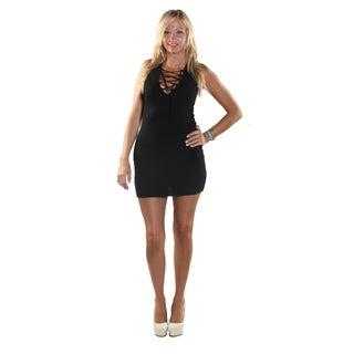 Hadari Women Sleeveless V-Neck Short BlackvvDress