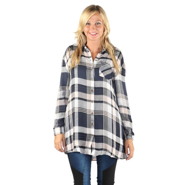 Hadari Women Long Sleeve Button Down Flannel