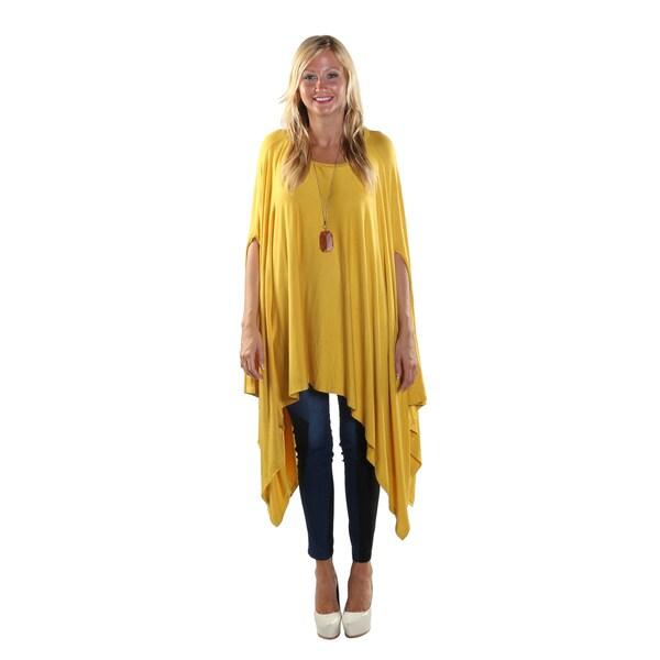 Hadari Women's Round Neckline Loose Batwing Sleeve Casual Yellow Top