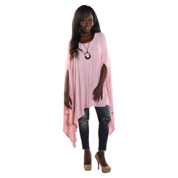 Hadari Women's Round Neckline Loose Batwing Sleeve Casual Pink Top