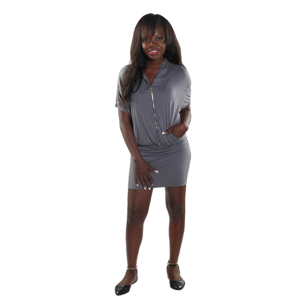 Hadari Women's Grey 1/4 V-Neck Frontal Zip Midi Dress with Hoodie