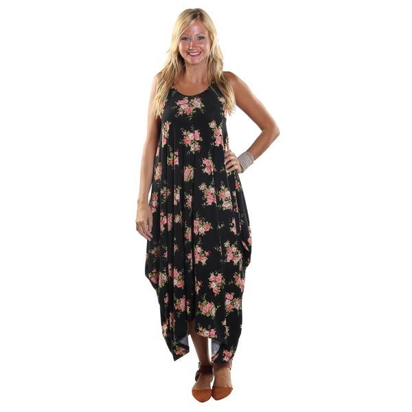 Hadari Women's Sleeveless Round Neckline Maxi Black Tent Dress with flower print