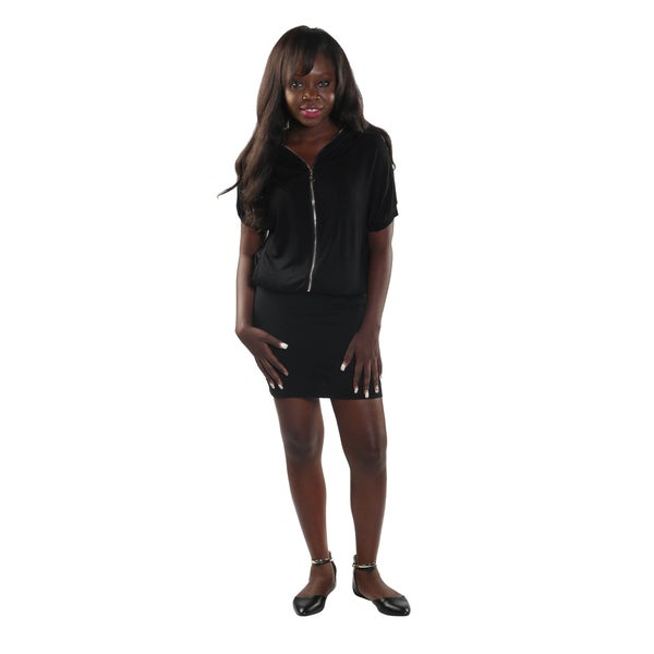 Hadari Women's Black 1/4 V-Neck Frontal Zip Midi Dress with Hoodie