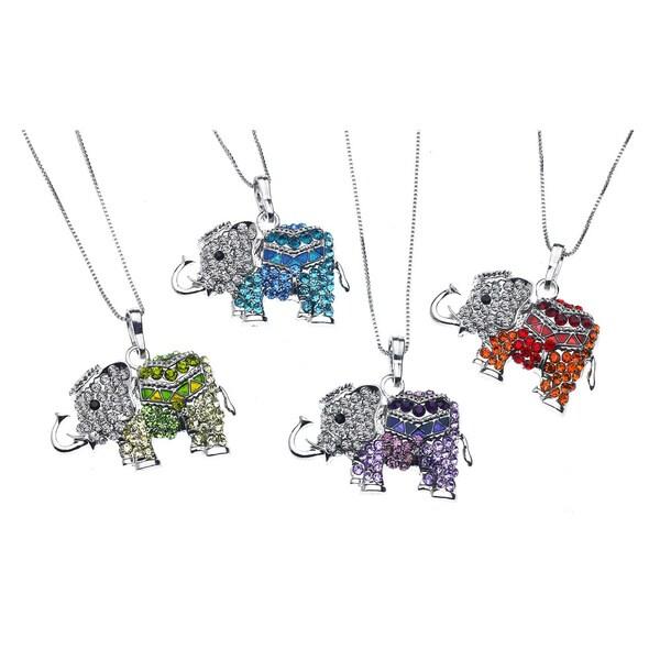 Sparkling Elephant Crystal/Brass Pendant Necklace
