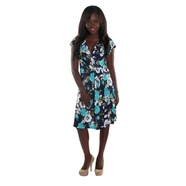 Hadari Women Cap Sleeve V-Neck Knee Length Dress