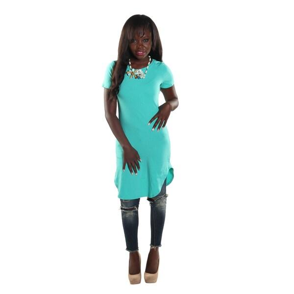 Hadari Women's High Round Neckline Short sleeve Knee High Shift Jade Dress
