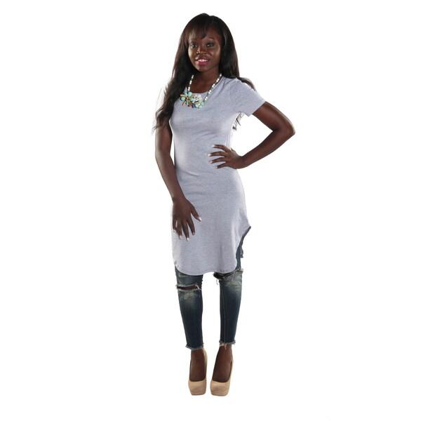 Hadari Women's High Round Neckline Short sleeve Knee High Shift Grey Dress
