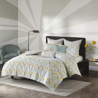 Urban Habitat Stella Aqua Printed 7-piece Cotton Comforter Set