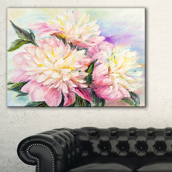 Blooming Pink Peonies - Floral Canvas Art Print