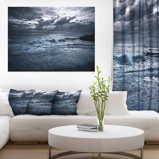 Sochi Sea Storm in Blue - Modern Landscape Wall Art Canvas