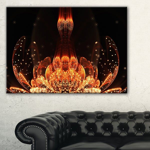Bright Orange Glossy Fractal Flower - Large Floral Wall Art Canvas