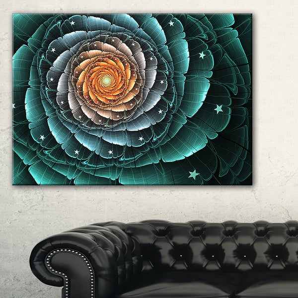Fractal Flower Turquoise Digital Art - Large Floral Canvas Art Print