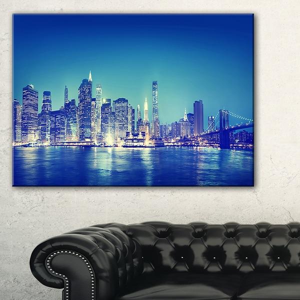 Blue New York City at Night Panorama - Cityscape Canvas print