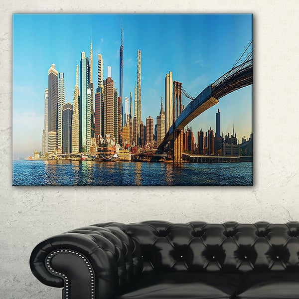 New York City with Brooklyn Bridge - Cityscape Canvas print