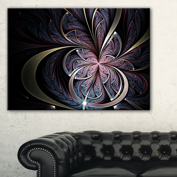 Dark Blue Fractal Butterfly Flower - Large Floral Canvas Art Print